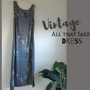 "Vintage ""All that Jazz"" Grey Geometric Print Dress"
